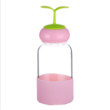 280ml Lovely Grass Caps Glass Drinking Water Bottle with Silicone Covers