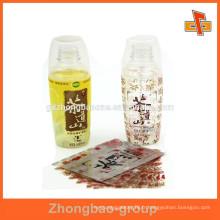 Etiquette de bouteille d'emballage rétractable en plastique PVC à chaleur avec impression personnalisée