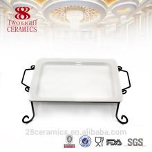 Placa de cerámica no vidriada al por mayor, placa blanca del postre, envase plano del sushi