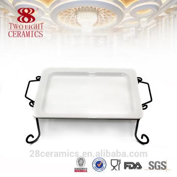 Großhandel unglasierte Keramikplatte, weiße Dessertteller, flache Sushi-Container