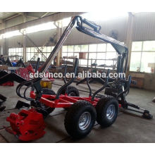 forest log loading trailer, Log trailer crane for Tractor,