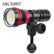 Neue Ankunft W32vr 5 mm gehärtetes Glas Bequemer Einhand-Rotations-Magnetschalter 2000 Lumen Multifunktion Tauchen Video Licht