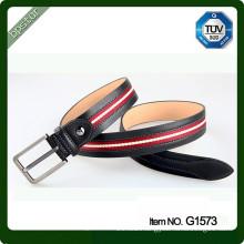 Man waist belt genuine leather belt with canvas stitch big pin buckle size adjustable