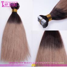 Venda por atacado baratos ombre reta cor cabelo tecer dois cor ombre remy cabelo extensão da fita