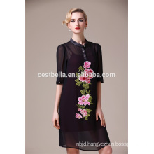Half Sleeve Floral Embroidery Black blue red Midi Dresses For Women