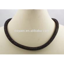 Black chapeado aço inoxidável 316L cristal imã stardust colar de malha