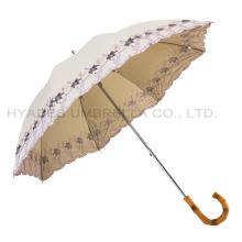 Flower Embroidery Women's Straight Umbrella Slide Parasol