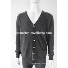 suéter de cachemir con cuello en V y manga larga para hombres