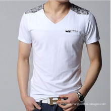 Moda V Neck Fitted Top Quality Algodão Atacado Men T Shirt