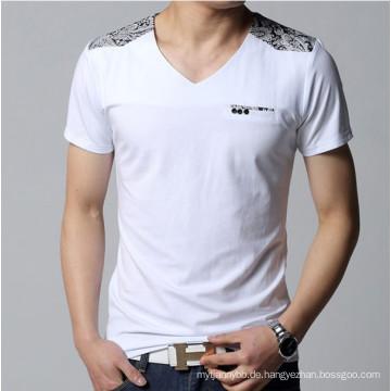 Mode V-Ausschnitt ausgestattet Top-Qualität Baumwolle Großhandel Männer T-Shirt