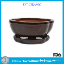 Brown Glazed Ceramic Bonsai Pots