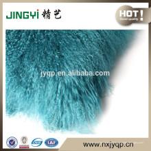 Gros doux cheveux longs mongol agneau coussin de fourrure