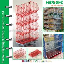 4-tier rolling basket storage basket bin shelving