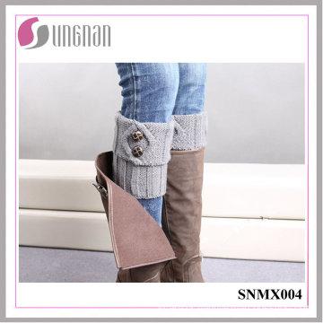 2015 Warm Button Decorate Knit Wool Leg Warmers Feet Socks