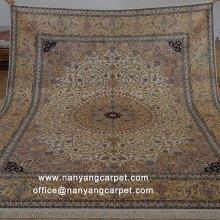 8'x10' Floral Design Handwoven Kashmir Silk Rug