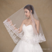 One Layer Short Ivory Wedding Veil with Appliques