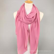 20 couleurs 145 cm carré écharpe hiijab femmes musulman plaine bulle mousseline de soie hijab châle en gros