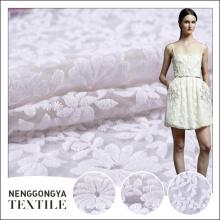 Custom design new embroidered organza floral wedding dress fabric