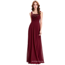Kate Kasin Full-Length Spaghetti Straps Sequined Chiffon Wine red Evening Dress KK000098-1