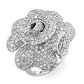 Große Blume CZ Diamant 925 Sterling Silber Ring Schmuck