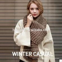 2017 New arrival lady inverno longo planície de malha cachecol xale fibras Acrílicas malha infinito cachecol para as mulheres