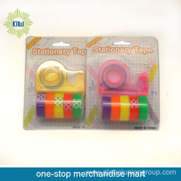 6PCS stationery tapes with 1pc tape dispenser set