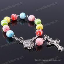 New Olive Green 8mm Resin Beads Jesus Rosary Bracelet