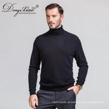 Suéter negro de la alta de la cartulina del cuello alto con buen precio corto plazo de ejecución