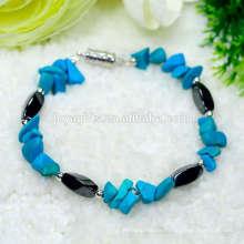 Magnetische Torsion Stretch Perlen mit Edelstein türkisfarbenen Chip Armband Charme Edelstein Armband