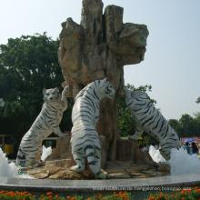 Gartendekoration im Freien Steinmetzarbeiten Marmor Tiger Skulptur