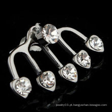 2015 Casamento Brinco Jóias Clipe De Orelha Coração Forma Cristal Orelha Cuff EC20
