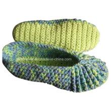Personalizado OEM Handmade Knit Crochet Lã Chinelos Sapatos Meias