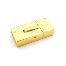 BX112 Joyería al por mayor encontrar oro de color de acero inoxidable magnético cierre plano para pulsera de cuero