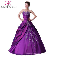 2015 púrpura karin cariño Quinceanera vestidos sin tirantes de alta calidad y barato CL2515