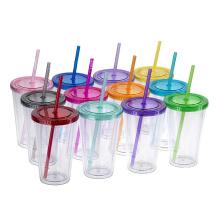 BPA LIBRE la bouteille en plastique de paille de boisson de tasses de l'eau de cadeau de mur de double avec le couvercle