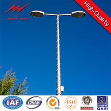 12m Galvanized Street Lighting Pole with Double Arms