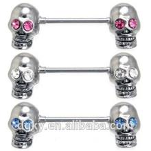 Skull CZ olhos mamilo Barbell Screwed duplo Skull mamilo piercing jóias