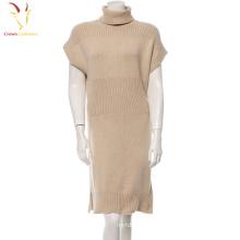 Mulheres gola de inverno vestido de cashmere de malha camisola de mão