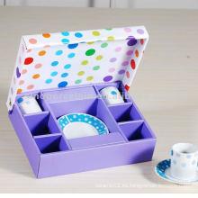 Clásico 12pcs cerámica 90cc taza de café redonda y plato en caja de regalo cuadrado para BS120920D