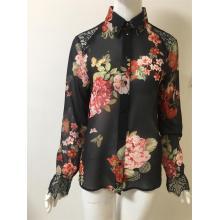 printed chiffon  shirt with Lace