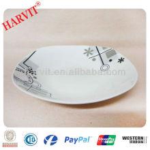 Chaud!!! Plaque de soupe carrée de 9 po / prix bon marché Plats en porcelaine avec décalque / Plaques en céramique en Chine