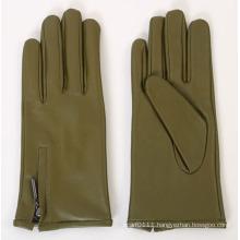 Lady Zipper Fashion Sheepskin Leather Driving Gloves (YKY5167)
