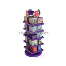 Merchandising Loja de livros independente Promovendo plataforma de madeira base de metal de 5 camadas de tela rotativa