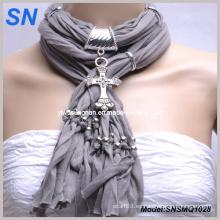 Bufanda de la manera con el colgante cruz de bronce (SNSMQ1005)