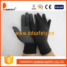 Luvas de nylon / poliéster malha PVC Dots-Dkp428