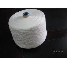 100% Raw White Polyester Ring Spun Yarn For Common Fabric Sewing