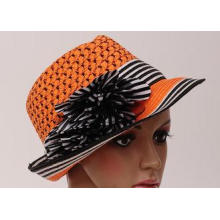 Female Orange Packable Sun Hat / Leisure Hats With 5cm Shor