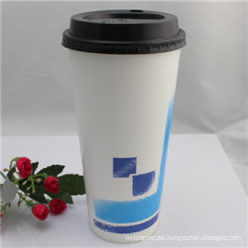 Custom Logo Printed Disposable Single Wall Drinking Paper Cup with Lids