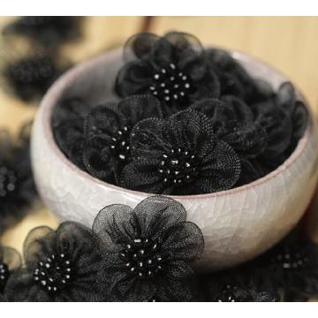 3D black Flower embroidery lace patches DIY beads
