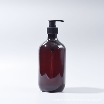 500ml Amber Boston Round Plastic Pet Lotion Shampoo Bottle (EF-PL070500)